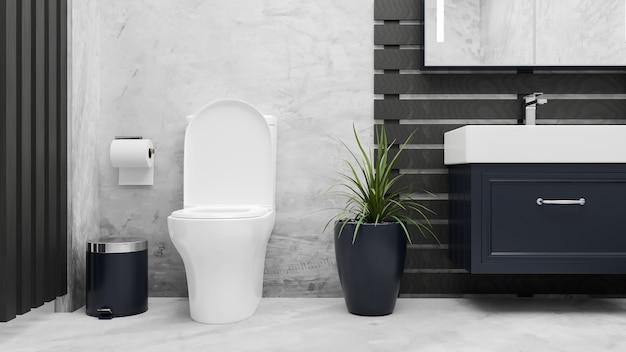 Modern elegance bathroom interior with toilet bowl ceramic washbasin in marble floor and loft wall