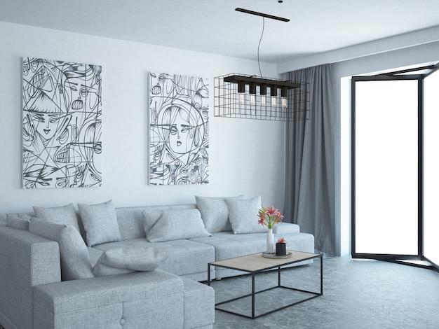 현대 우아하고 고급스러운 거실 아파트