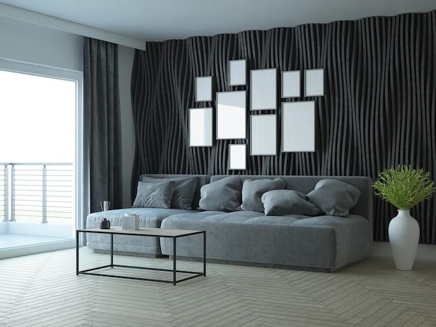 Современная элегантная гостиная с диваном и декоративной стеной