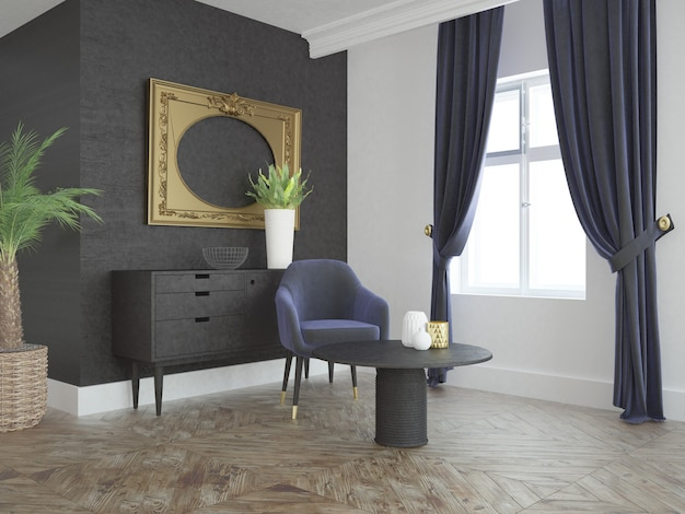 ソファコーヒーテーブルウィンドウカーテン付きのモダンでエレガントなリビングルーム