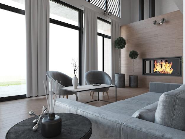 Современная элегантная гостиная с диваном, журнальным столиком, оконной занавеской