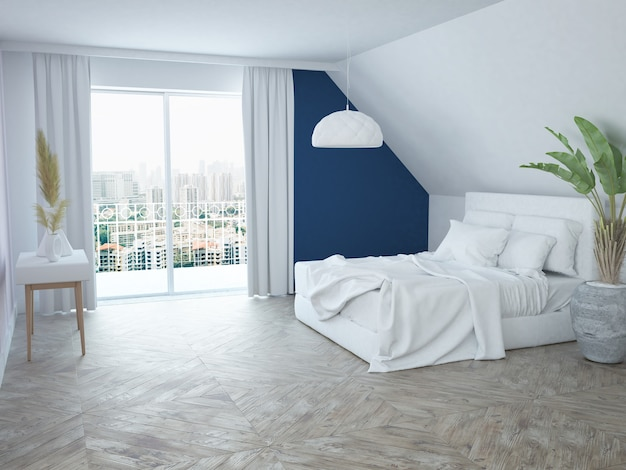 Современная элегантная роскошная бело-синяя спальня с видом на город