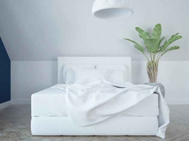 Modern elegant luxurious white and blue bedroom