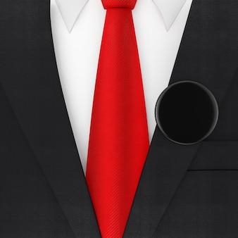 빨간 넥타이와 검은색 빈 투표 배지 극단적인 근접 촬영 현대 우아한 남자 정장. 3d 렌더링