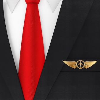 赤いネクタイと黄金のパイロットの翼のエンブレム、バッジまたはロゴのシンボルの極端なクローズアップとモダンでエレガントな男のスーツ。 3dレンダリング