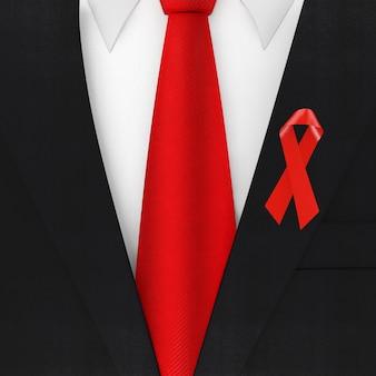 빨간 넥타이와 빨간 유방암 인식 기호 리본 극단적인 근접 촬영 현대 우아한 남자 정장. 3d 렌더링