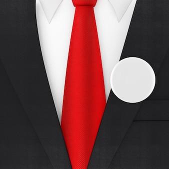 빨간 넥타이와 흰색 빈 투표 배지 극단적인 근접 촬영 현대 우아한 남자 정장. 3d 렌더링