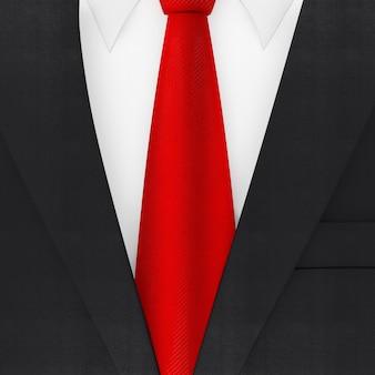 赤いネクタイの極端なクローズアップとモダンなエレガントな男のスーツ。 3dレンダリング