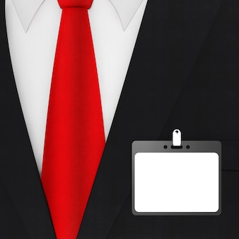 Modern elegant man suit with red necktie and white blank id card badge extreme closeup . 3d rendering