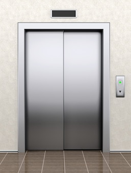 Modern elevator with closed doors extreme closeup