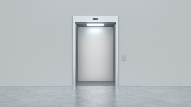 Modern elevator with open metal doors