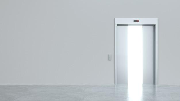 반 개방형 금속 도어가있는 현대식 엘리베이터