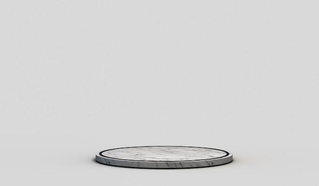 중성 흰색 배경에 검은색 가장자리가 있는 현대적인 빈 원형 대리석 받침대. 3d 렌더링.