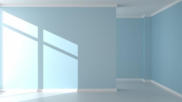 Modern empty living room interior, mint wall mockup background. 3d rendering.