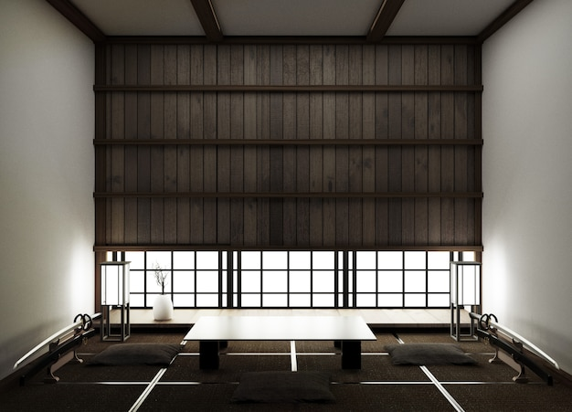 Modern empty living room with floor tatami mat and traditional japanese.3d rendering