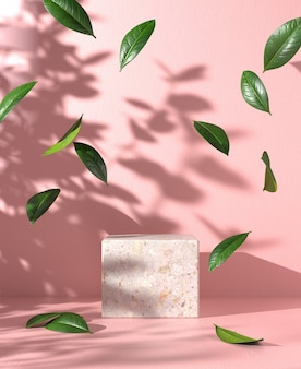 Modern empty mockup podium with leaf fall and sunlight shadow on pink concrete background