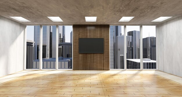 Modern empty office interior with big windows and city view behind