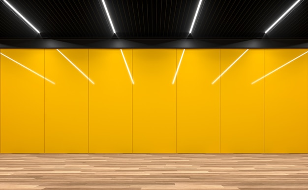 Modern empty room 3d render.there are wooden floor,yellow glossy wall and black steel ceiling.
