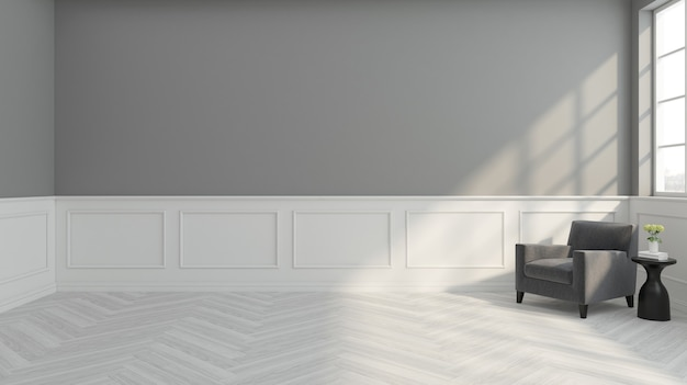 Modern empty room with minimalist armchair and white wall cornice. 3d rendering