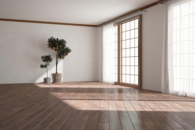 얇은 명주 그물과 식물 인테리어 디자인 현대 빈 방. 3d 일러스트레이션