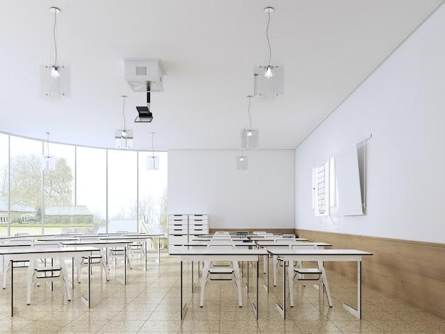 Современный пустой школьный класс интерьер в белом цвете. 3d рендеринг