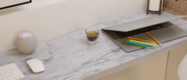 Modern empty space on marble computer desk with laptop and decor 3d rendering