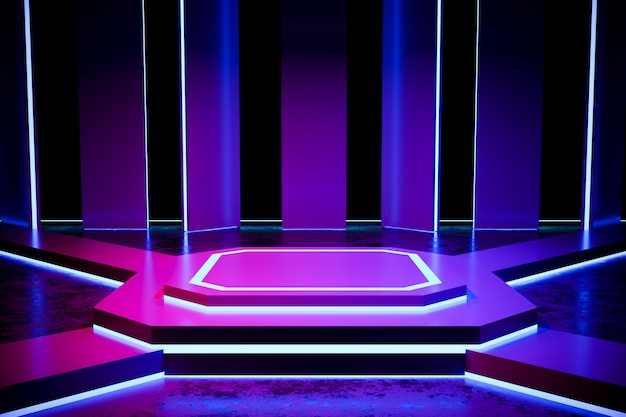 Modern empty stage with neon light