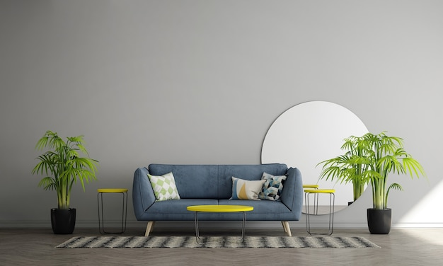 モダンな空の壁のリビングルームにはソファと装飾があり、インテリアのモックアップ、3dレンダリング