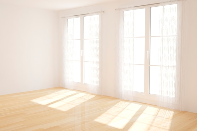 Modern empty white room with curtains