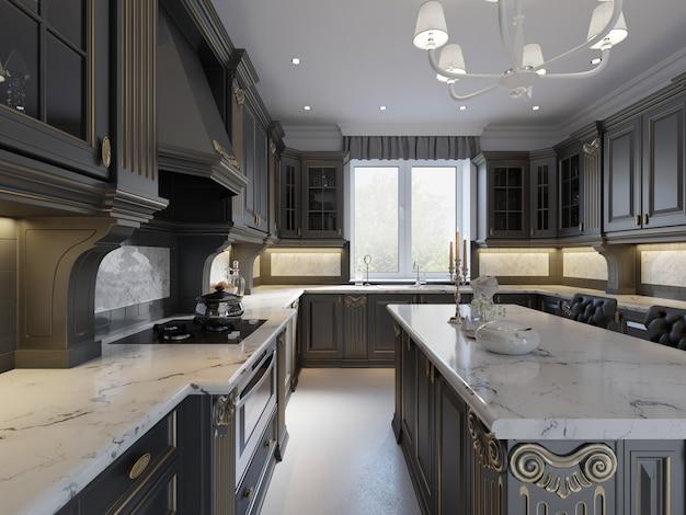 暗い家具、暗いファサード、大理石のカウンタートップを備えたモダンな英国のクラシックスタイルのキッチンインテリアデザイン。 3dレンダリング