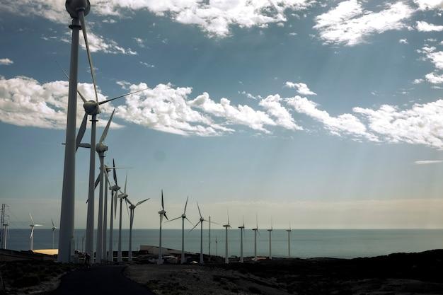 海側にクリーンな風車があり、エネルギーと電気を生み出す現代的な環境