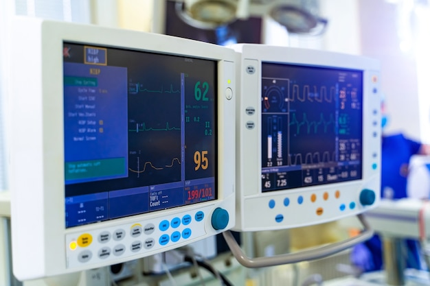 Modern equipment in operating room. medical devices for neurosurgery. background. operating theatre. selective focus.