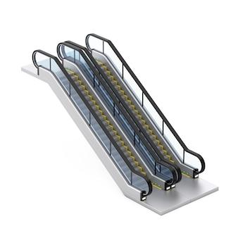 흰색 바탕에 현대적인 에스컬레이터 또는 전기 계단. 3d 렌더링