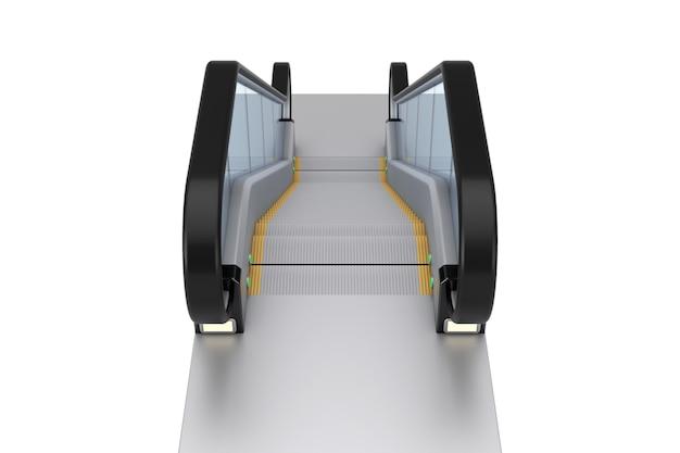 Современный эскалатор или электрическая лестница на белом фоне. 3d рендеринг