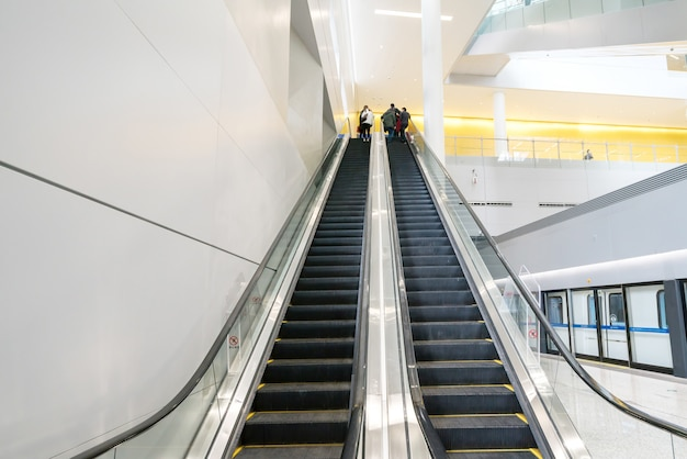 Modern escalator in shopping center