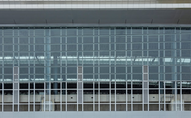 Modern exterior of architecture with glass and iront frame background