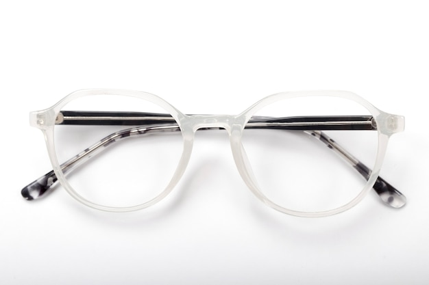 Modern eyeglasses on a white background
