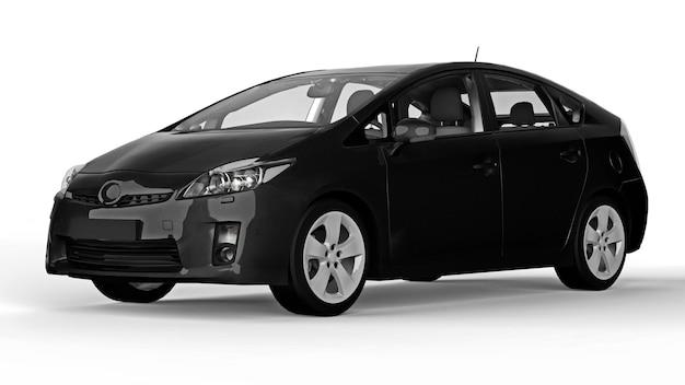 바닥에 그림자가 있는 흰색 배경에 현대적인 가족 하이브리드 검은색 자동차. 3d 렌더링.