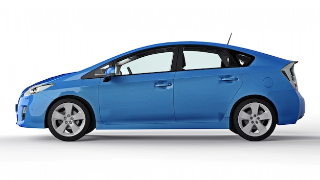 Modern family hybrid blue car on a white surface with a shadow on the ground