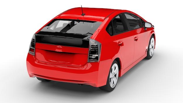 바닥에 그림자가 있는 흰색 배경에 빨간색 현대 가족 하이브리드 자동차. 3d 렌더링.