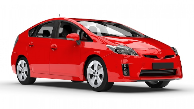 Modern family hybrid car red on a white background with a shadow on the ground