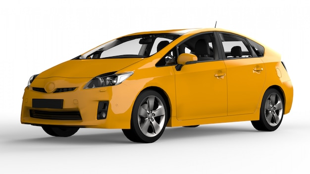 Modern family hybrid car yellow on white  with shadow on the ground