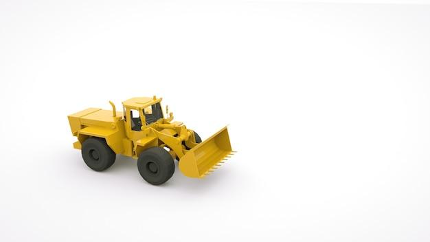 バケツと大きな車輪を備えた現代の農業用トラクター。農業用産業機器。 3d画像、白い背景の上のイラストのオブジェクト。