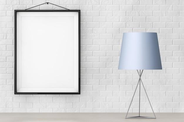空白のフレームの極端なクローズアップとレンガの壁の前にあるモダンなファッションテーブルランプ。 3dレンダリング