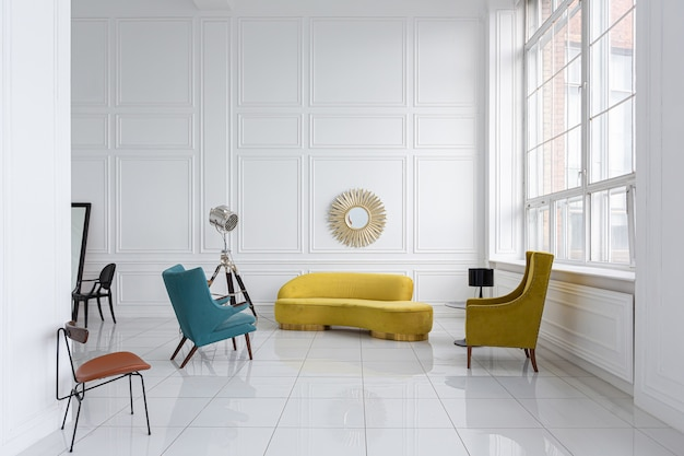 Modern fashionable futuristic interior design of a spacious white hall with black and yellow furniture