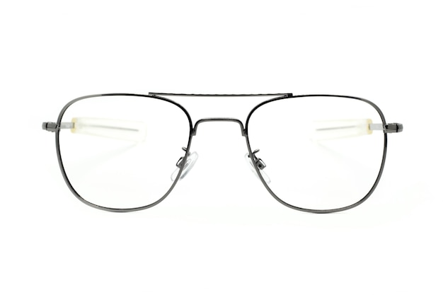 흰색 배경에 고립 된 현대 유행 안경