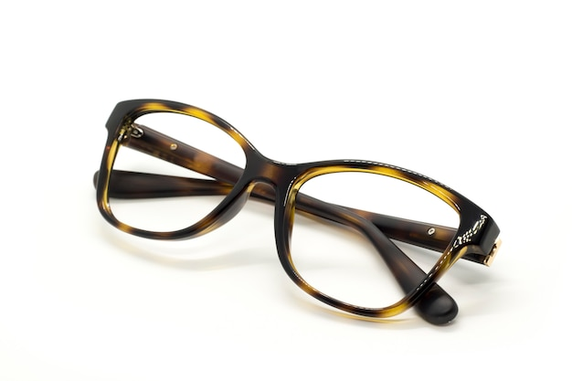 Modern fashionable spectacles isolated, perfect reflection, glasses