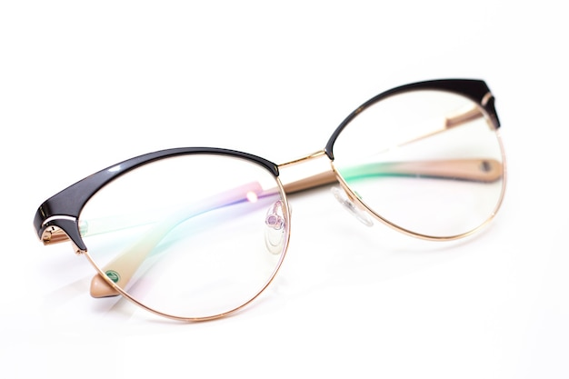 Modern fashionable womens glasses for sight. glasses on a light background.