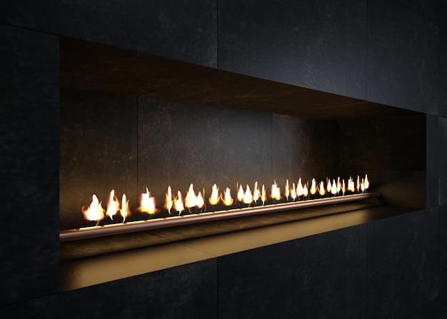 Modern fireplace in the interior in the style of minimalism or loft. kitchen or stove grill.