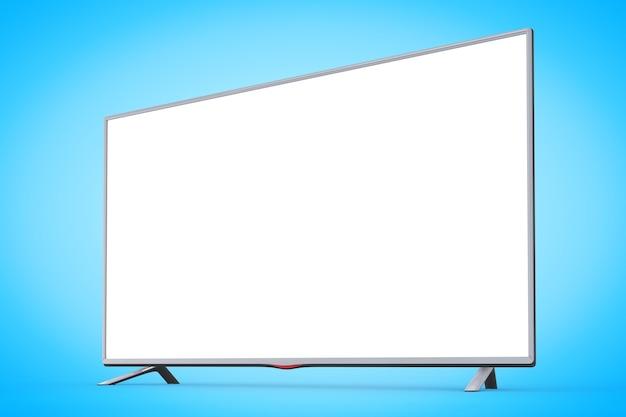 파란색 배경에 현대적인 평면 led 또는 lcd tv. 3d 렌더링